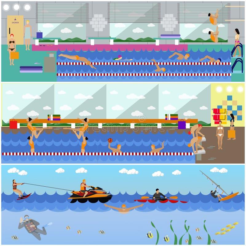 Bandeiras horizontais do vetor com interior da piscina Conceito do esporte de água Povos que treinam e que exercitam ilustração do vetor