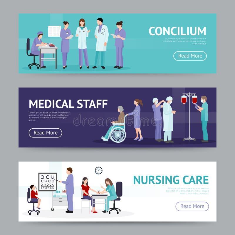 Bandeiras horizontais dos cuidados médicos ilustração stock