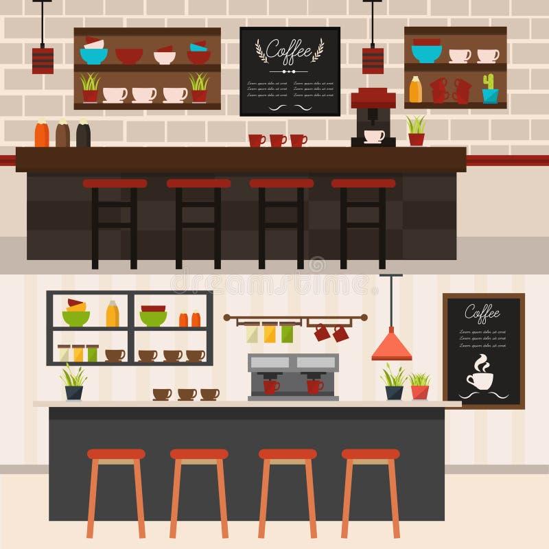 Bandeiras horizontais dos interiores da cafetaria ilustração royalty free