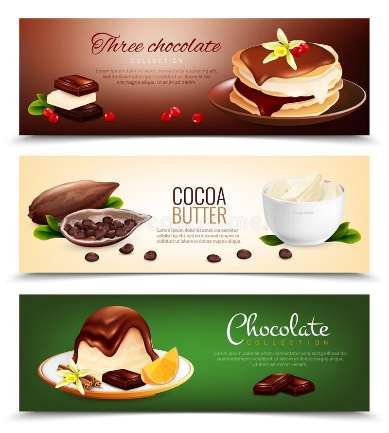 Bandeiras horizontais dos produtos do chocolate ilustração royalty free