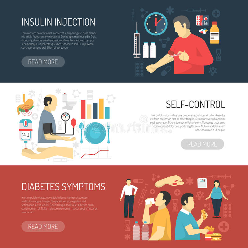 Bandeiras horizontais dos sintomas do diabetes ilustração stock