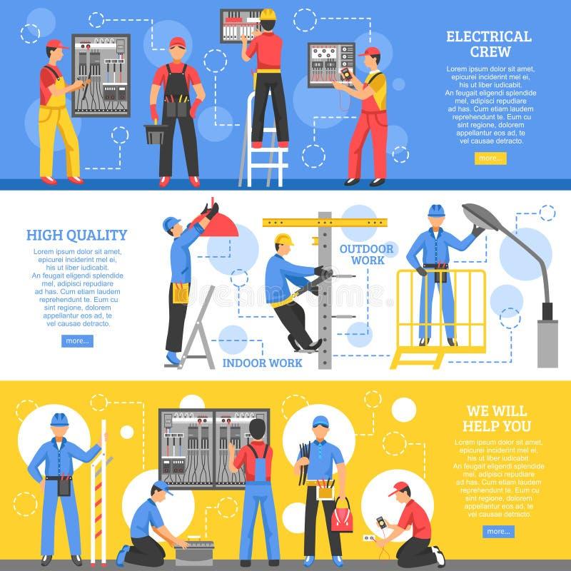 Bandeiras horizontais dos trabalhos de eletricidade ilustração royalty free