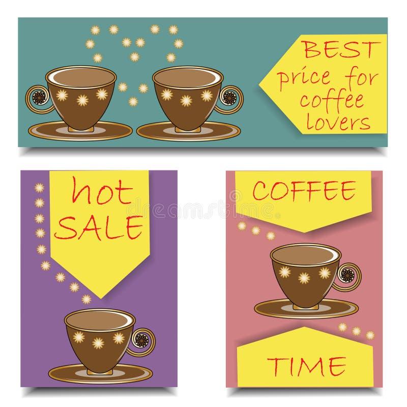 Bandeiras horizontais e verticais ajustadas para anunciar do café ilustração stock