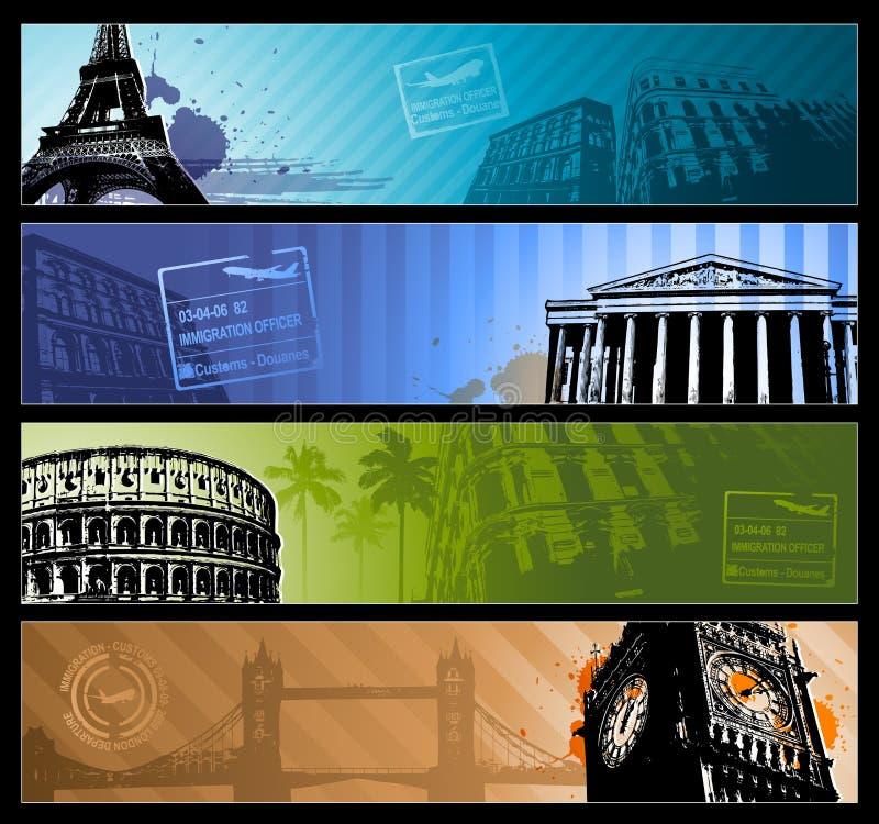 Bandeiras horizontais do curso das cidades de Europa ilustração stock