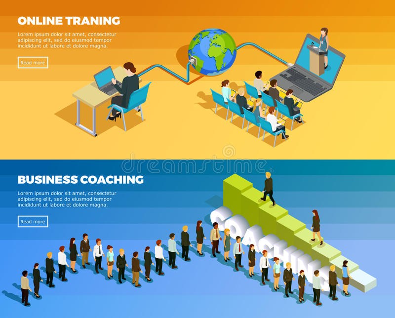 Bandeiras horizontais isométricas da educação do negócio ilustração royalty free