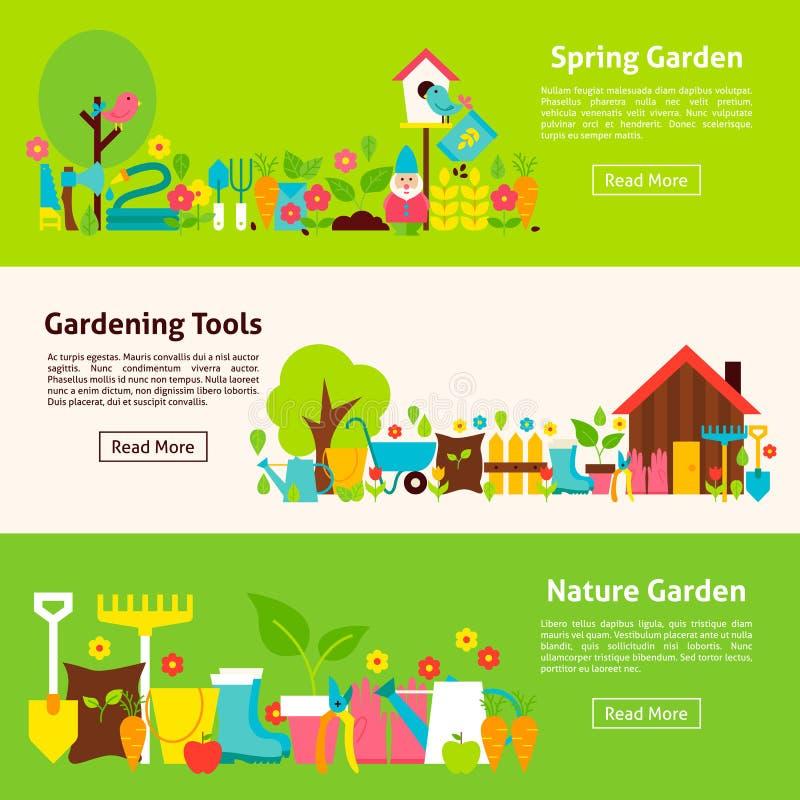 Bandeiras horizontais lisas da natureza e das ferramentas de jardinagem ilustração stock