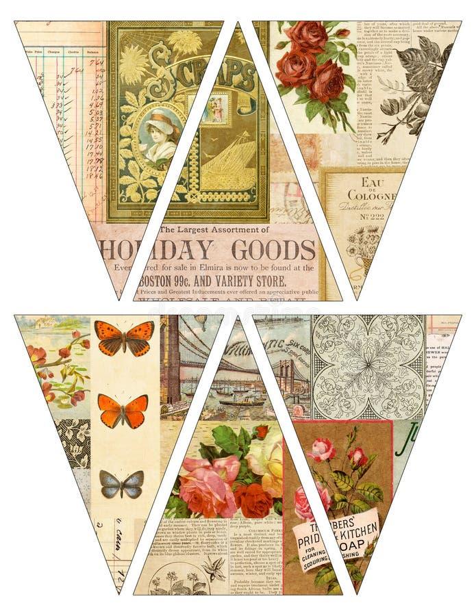 Bandeiras imprimíveis da festão da estamenha da bandeira do estilo do vintage de DIY com os compartimentos velhos collaged ilustração do vetor