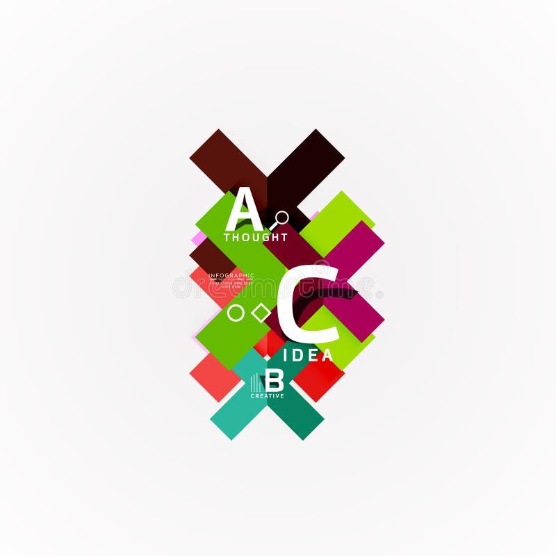 Bandeiras infographic da opção geométrica abstrata, um processo das etapas de b c ilustração royalty free