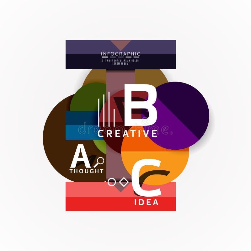 Bandeiras infographic da opção geométrica abstrata, um processo das etapas de b c ilustração stock
