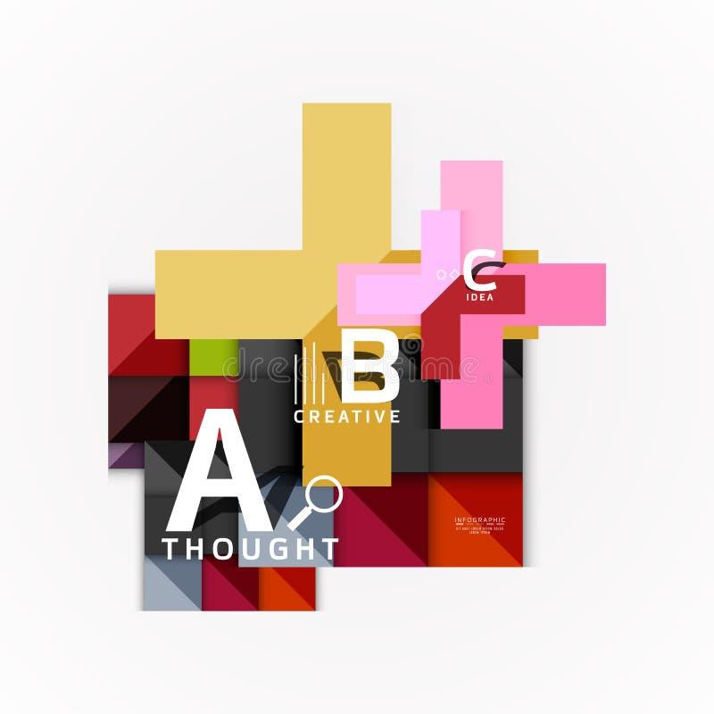 Bandeiras infographic da opção geométrica abstrata, um processo das etapas de b c ilustração do vetor