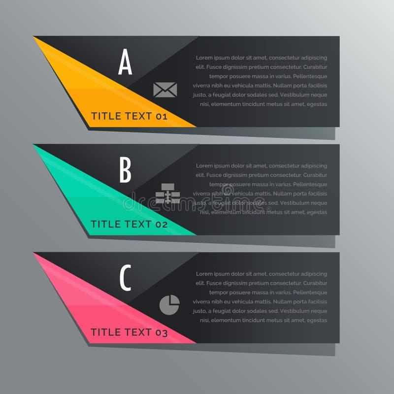 Bandeiras infographic das etapas escuras do tema três com ícones do negócio ilustração do vetor