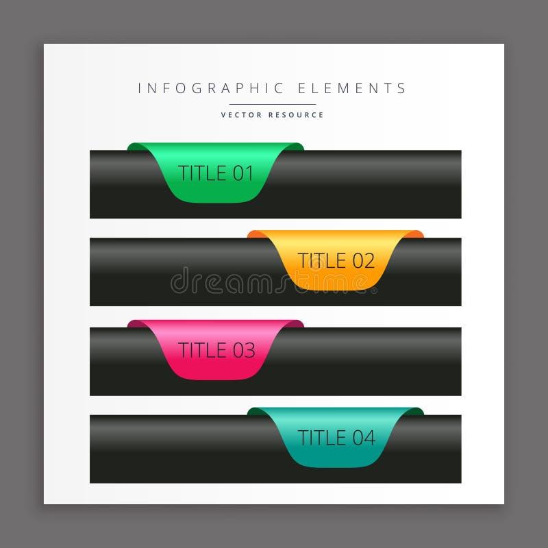 Bandeiras infographic escuras ilustração stock