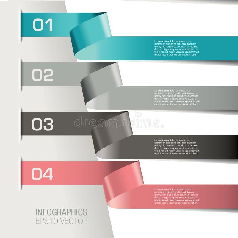Bandeiras infographic numeradas ilustração stock