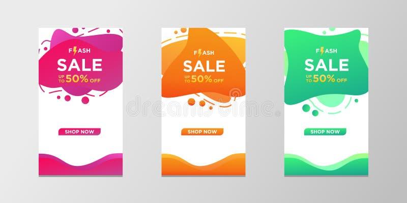 Bandeiras instantâneas da venda com cor líquida moderna dinâmica do sumário O projeto do molde da bandeira da venda, pode usar-se ilustração do vetor