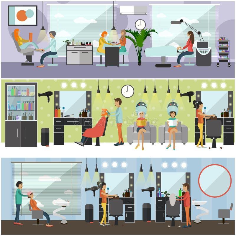 Bandeiras interiores do conceito do vetor do salão de beleza O corte de cabelo, tratamento de mãos e compõe a oficina Mulheres na ilustração royalty free