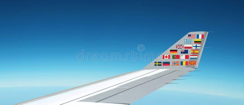 Bandeiras internacionais no avião fotos de stock royalty free