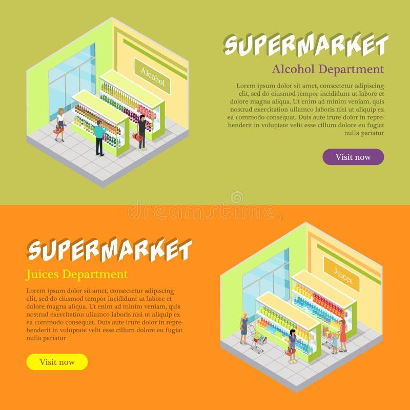 Bandeiras isométricas da Web dos departamentos do supermercado ajustadas ilustração royalty free