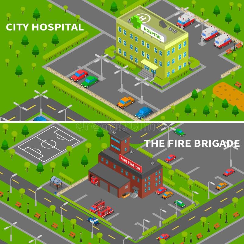 Bandeiras isométricas do hospital e do quartel dos bombeiros ilustração royalty free