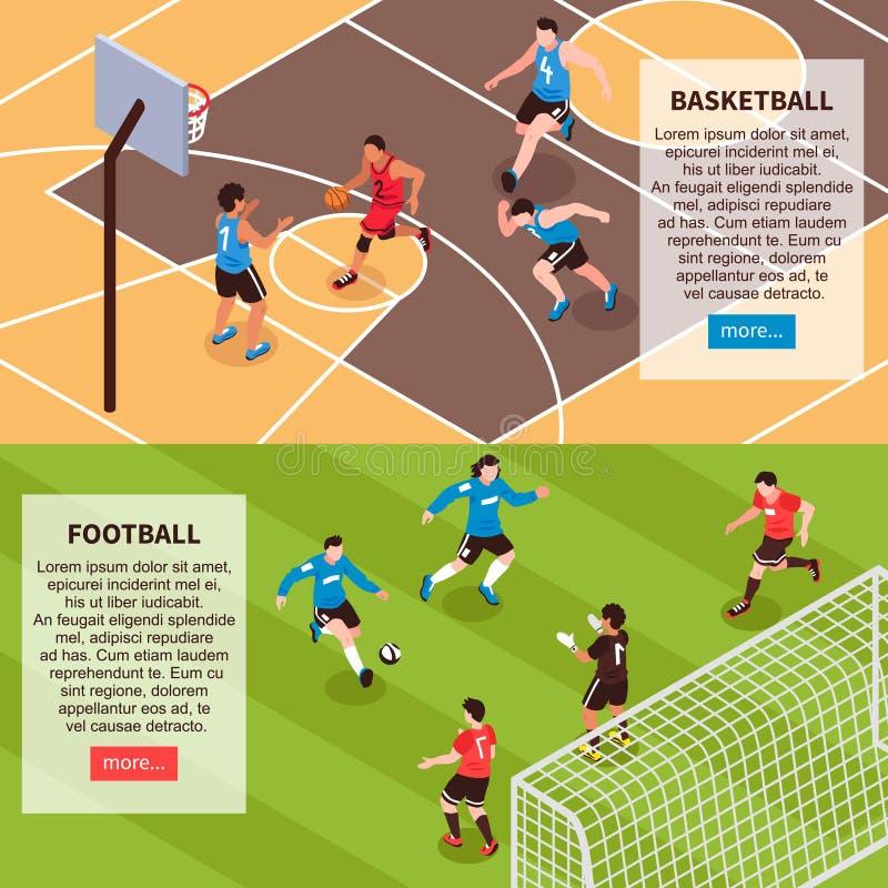 Bandeiras isométricas dos jogos de campo do esporte ilustração stock