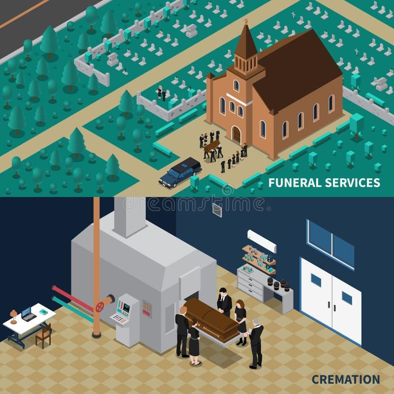 Bandeiras isométricas dos serviços fúnebres ilustração royalty free