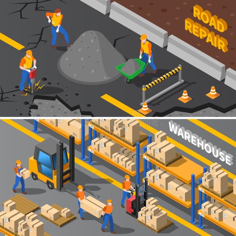 Bandeiras isométricas dos trabalhadores ajustadas ilustração do vetor
