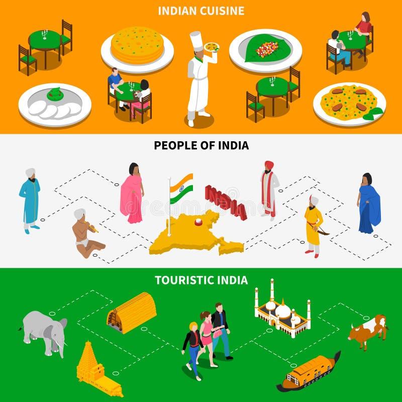Bandeiras isométricas turísticas da cultura indiana 2 ilustração royalty free