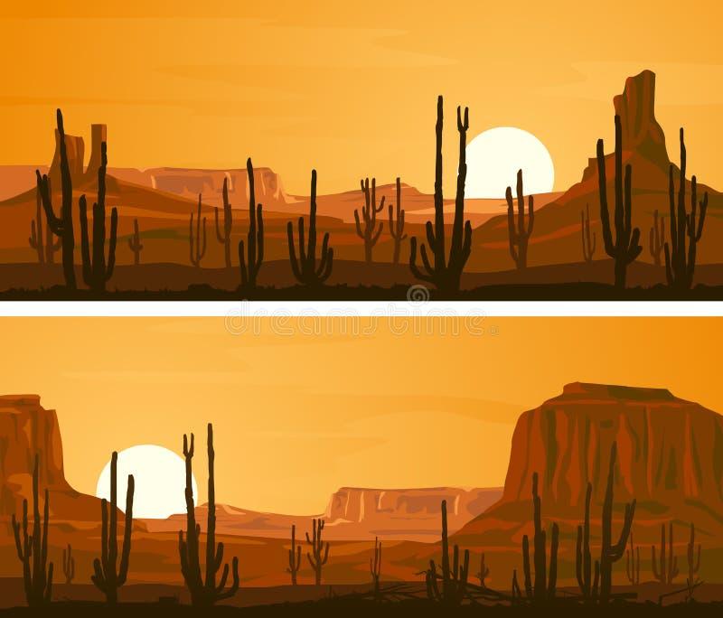 Bandeiras largas horizontais com ilustração do oeste selvagem da pradaria