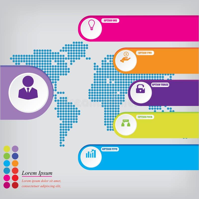 Bandeiras limpas do número do projeto moderno com o conceito do negócio usado para a disposição do Web site Infographics ilustração do vetor