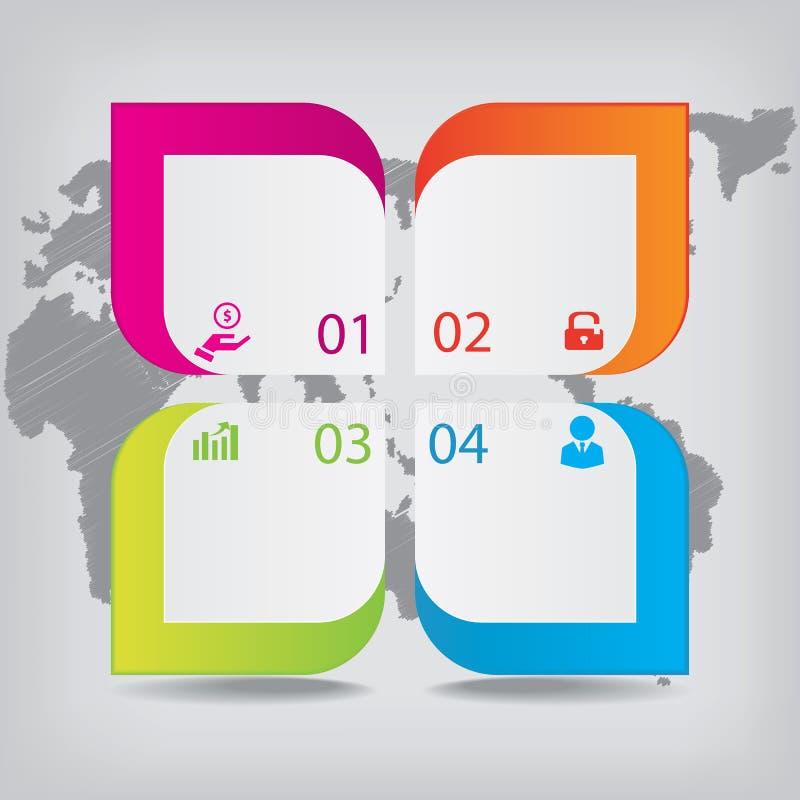 Bandeiras limpas do número do projeto moderno com o conceito do negócio usado para a disposição do Web site Infographics ilustração royalty free