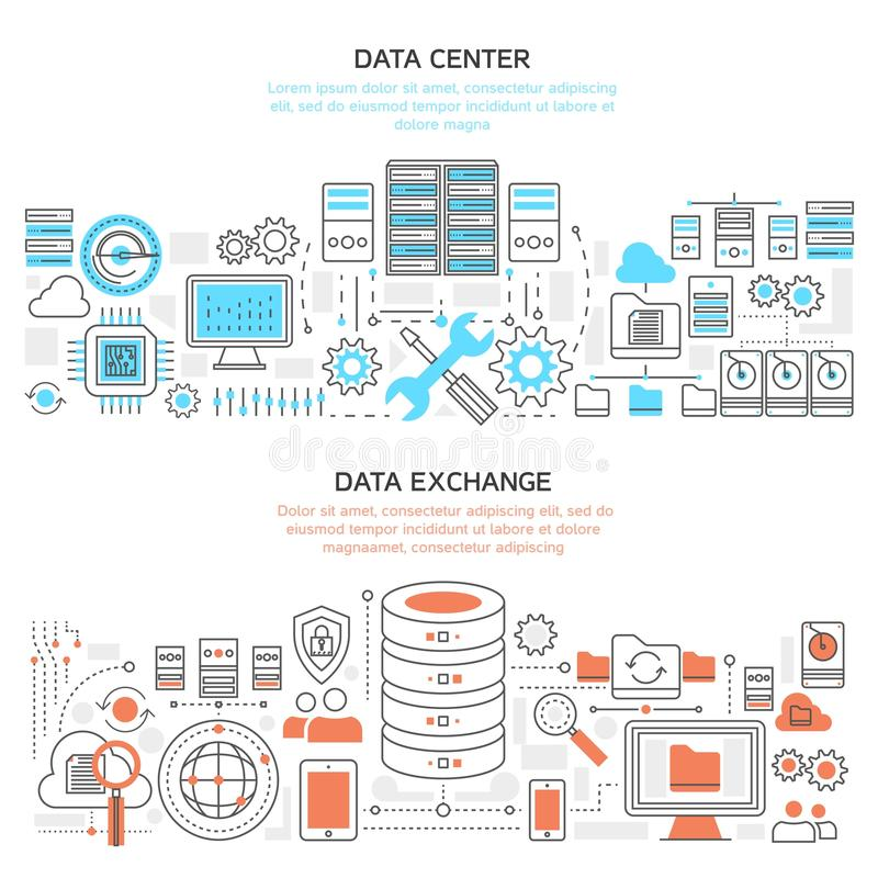 Bandeiras lineares horizontais de Datacenter ilustração royalty free