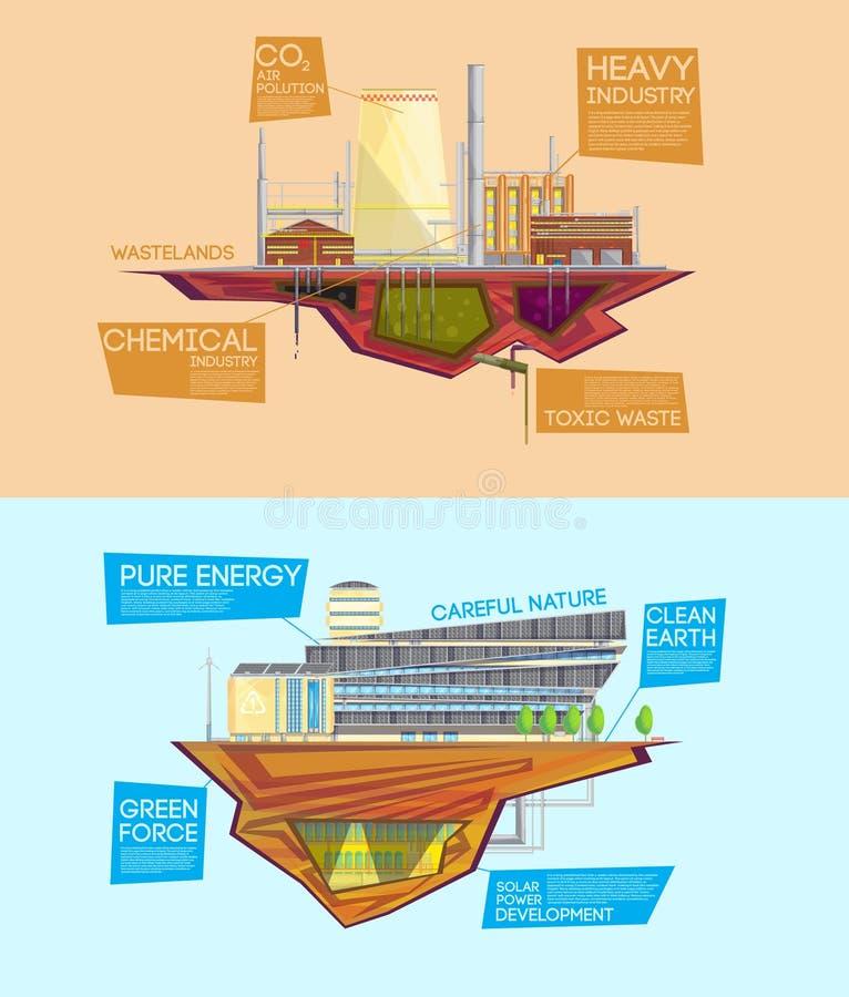 Bandeiras lisas da vantagem da indústria do desperdício de Eco ilustração royalty free