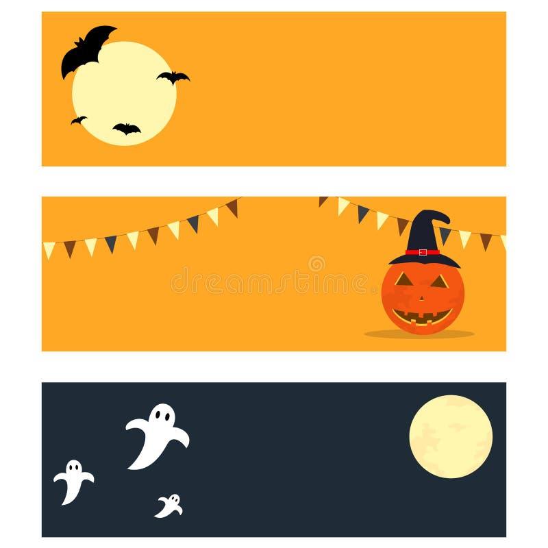 Bandeiras lisas de Dia das Bruxas do estilo ilustração stock