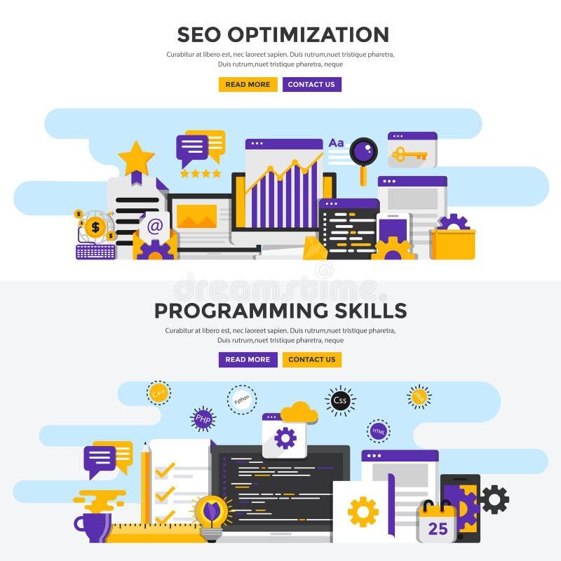 Bandeiras lisas do conceito de projeto - Seo Optimization e S de programação ilustração stock