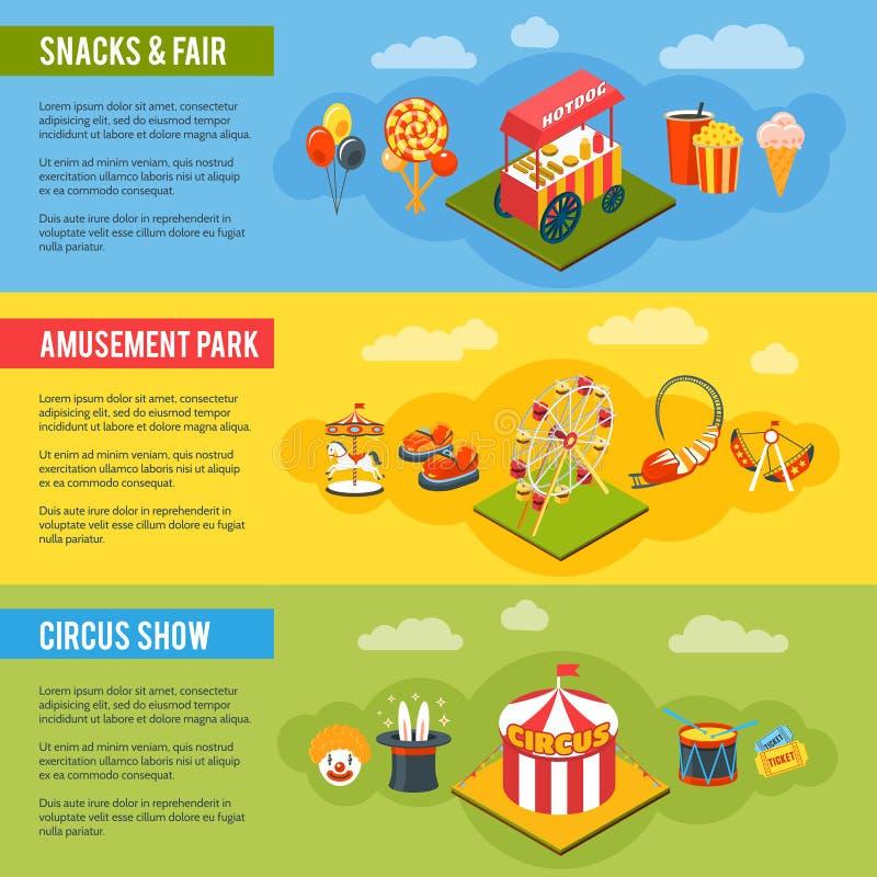 Bandeiras lisas do conceito do circo do carnaval ajustadas ilustração stock