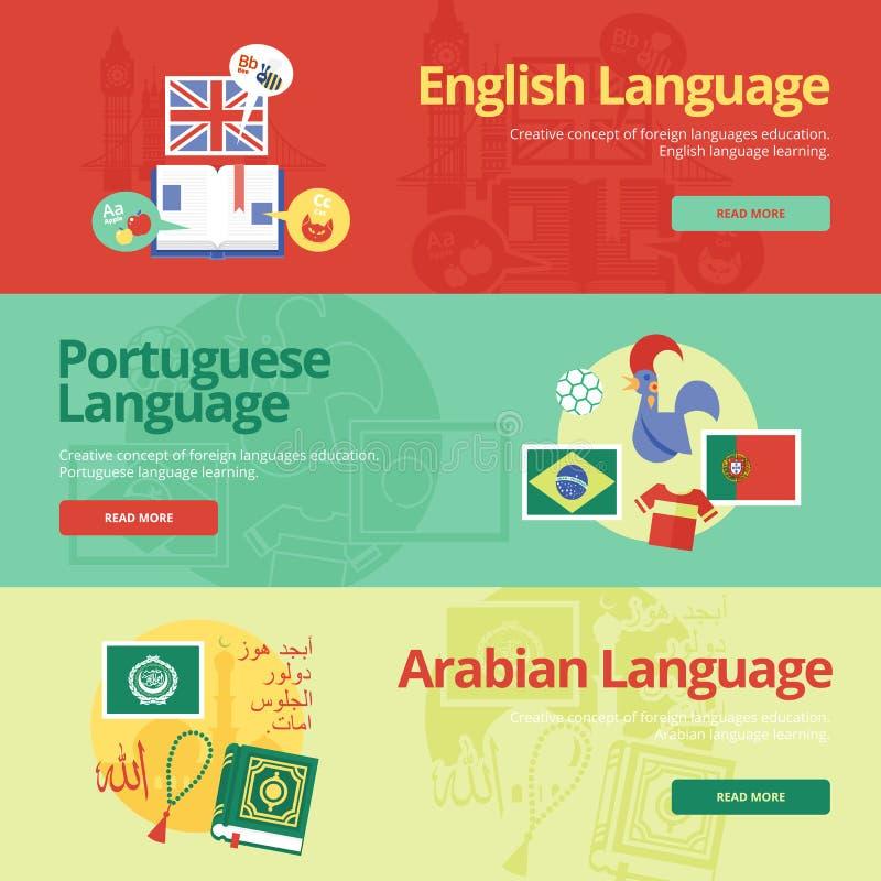 Bandeiras lisas do projeto para inglês, português, árabe Conceitos da educação das línguas estrangeiras para bandeiras da Web e m ilustração stock