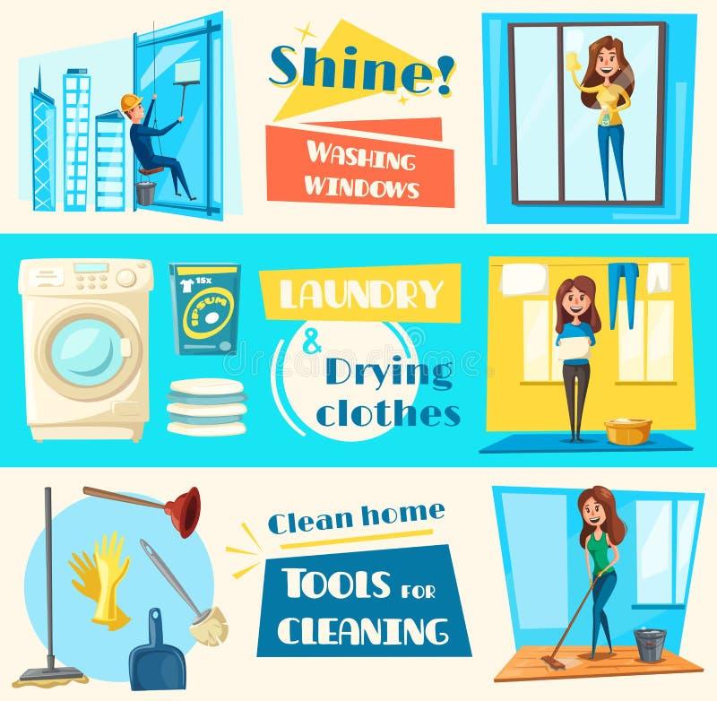 Bandeiras lisas do vetor do serviço da limpeza da casa ajustadas ilustração royalty free