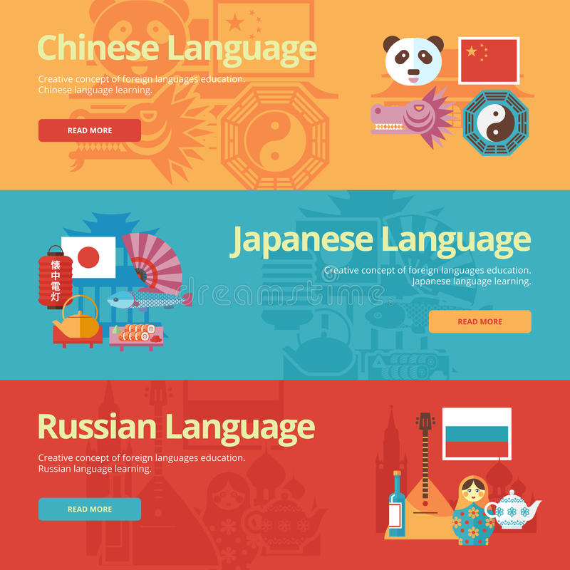 Bandeiras lisas para chinês, japonesas, russo do projeto Conceitos da educação das línguas estrangeiras ilustração stock