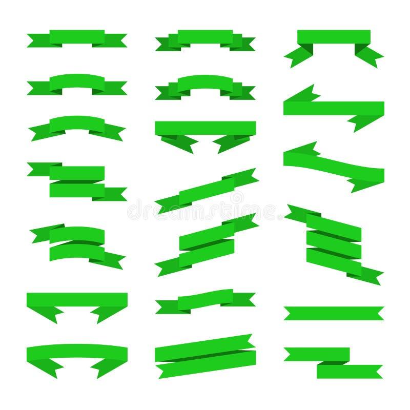 Bandeiras lisas verdes das fitas do estilo ajustadas Vetor ilustração do vetor