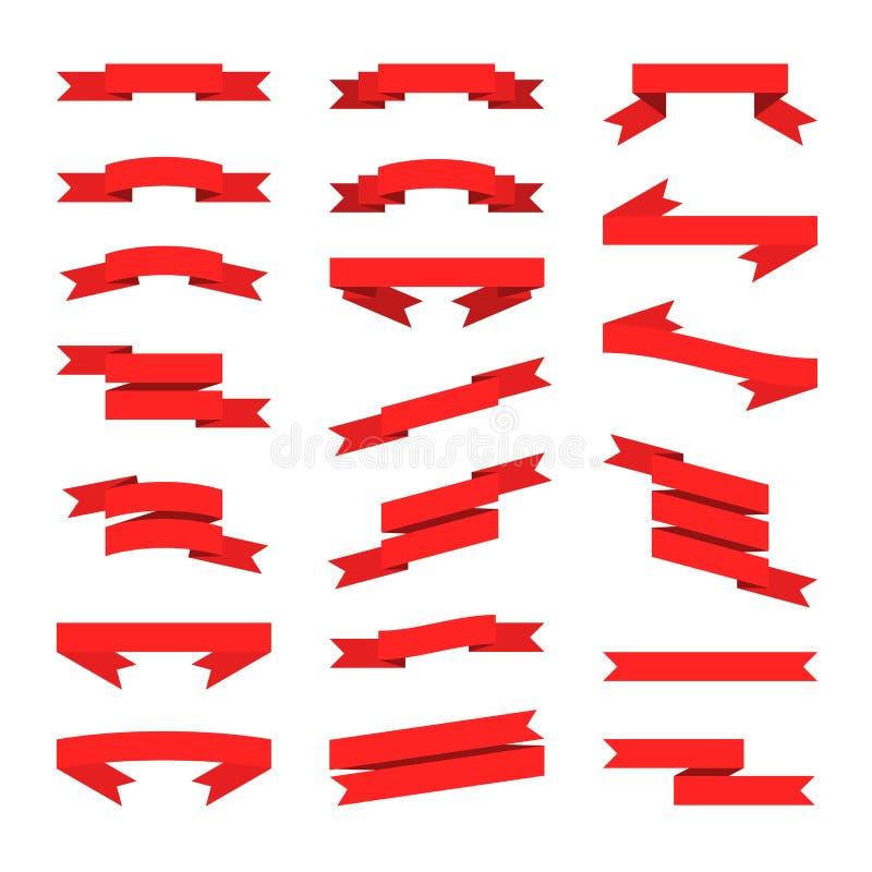 Bandeiras lisas vermelhas das fitas do estilo ajustadas Vetor ilustração royalty free