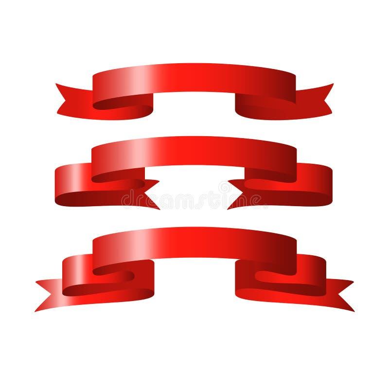 Bandeiras lustrosas vermelhas do vetor da fita imagem de stock royalty free