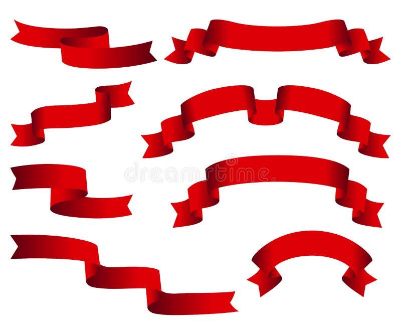 Bandeiras lustrosas vermelhas do vetor da fita ajustadas Coleção das fitas isolada no fundo branco ilustração stock