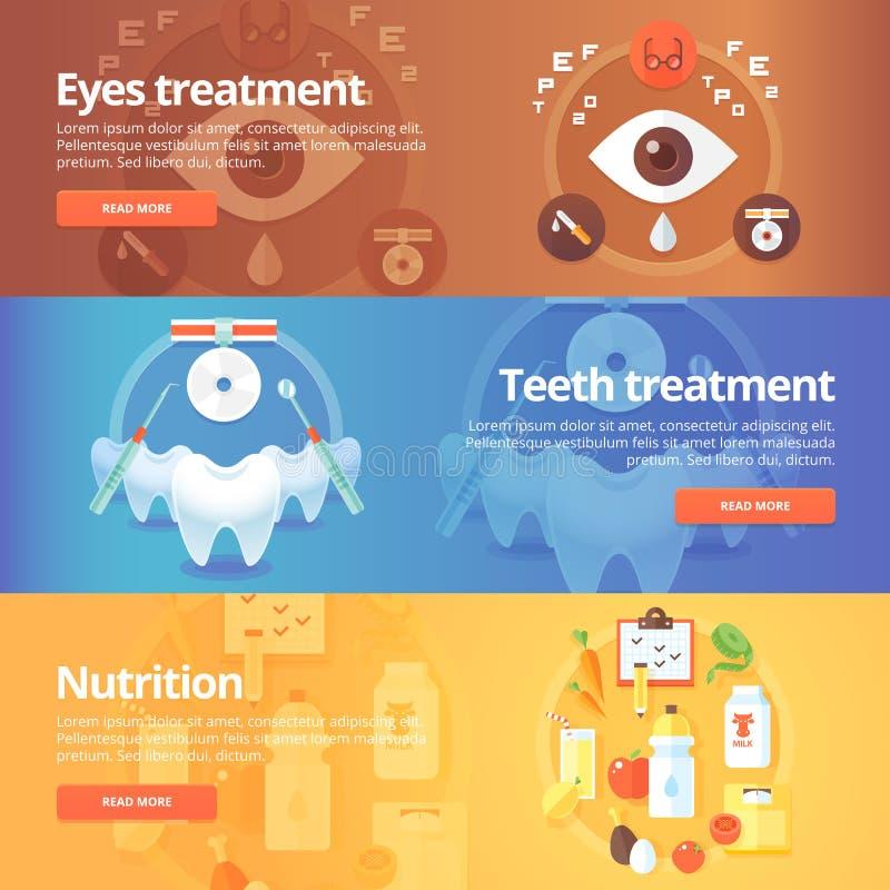 Bandeiras médicas e da saúde ajustadas Cuidado do olho ilustração royalty free