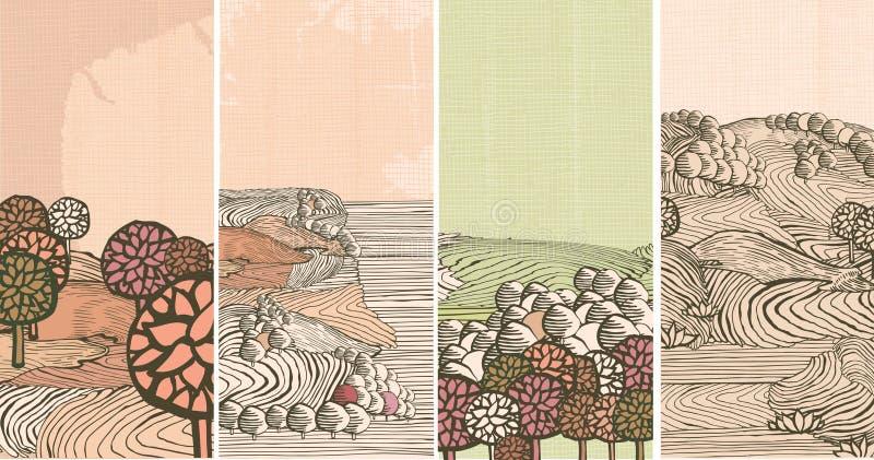 Bandeiras medievais da natureza ilustração royalty free