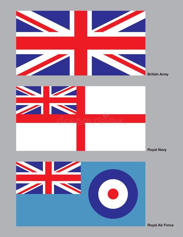 Bandeiras militares britânicas ilustração stock