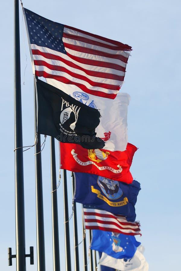 Bandeiras militares do Estados Unidos fotografia de stock royalty free