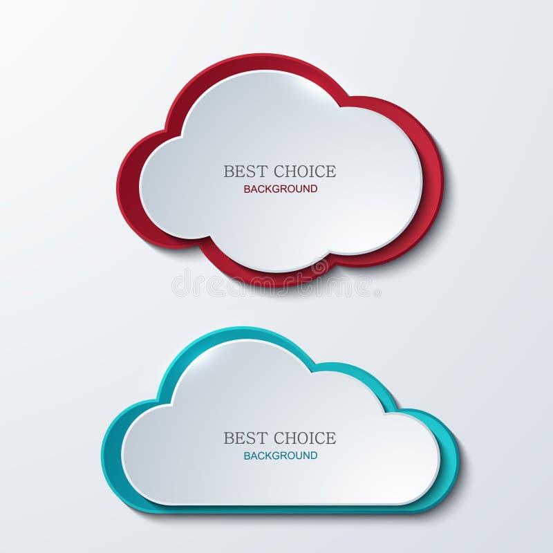 Bandeiras modernas das nuvens do vetor ajustadas ilustração do vetor