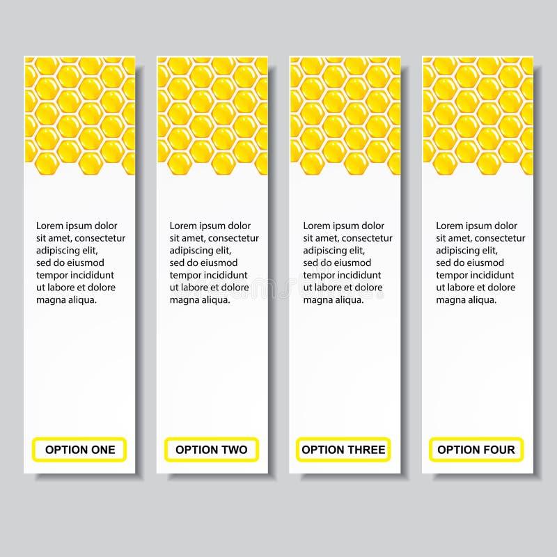 Bandeiras molde do número do negócio do projeto moderno da colmeia ou disposição do Web site Informação-gráficos Vetor ilustração stock