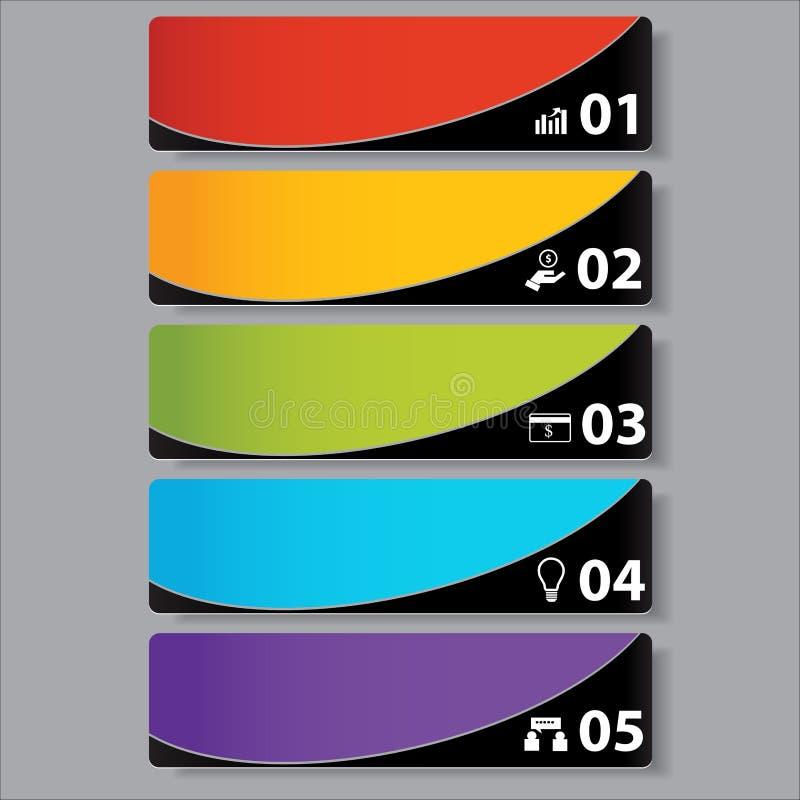 Bandeiras molde do número do negócio do projeto moderno ou disposição do Web site Informação-gráficos Vetor ilustração stock
