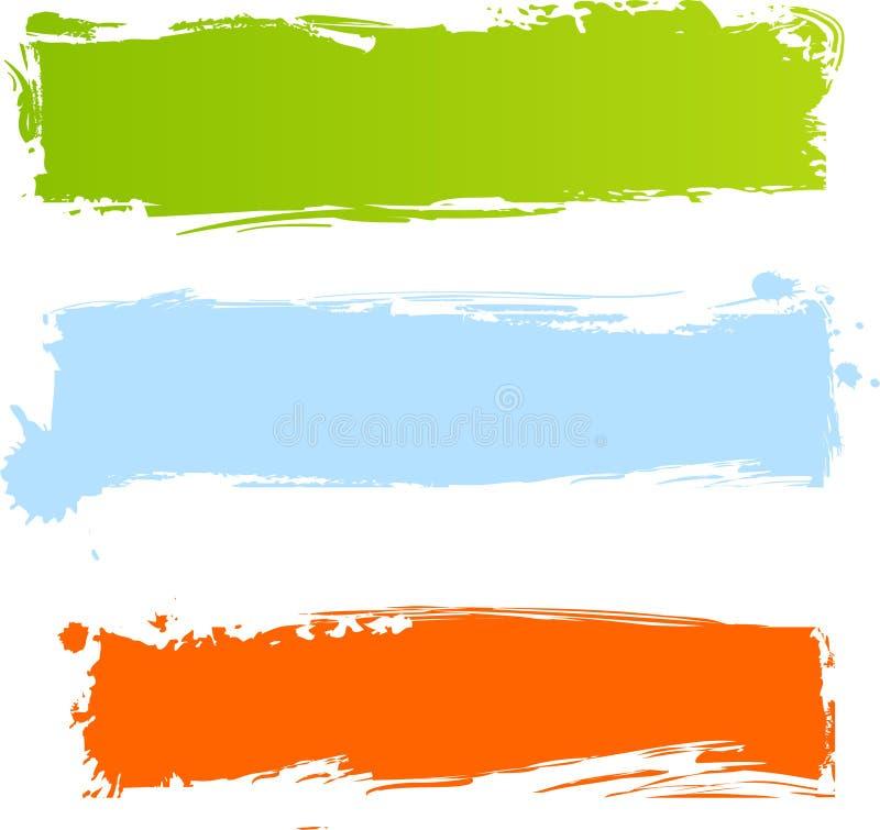Bandeiras multicolor sujas imagens de stock