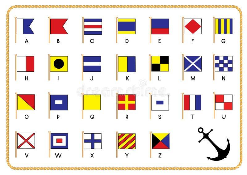 Bandeiras náuticas do sinal ilustração stock